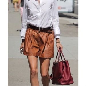 Zara croc embossed faux leather shorts